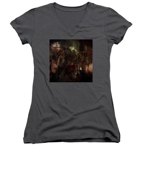 Red Sunflower Women's V-Neck T-Shirt