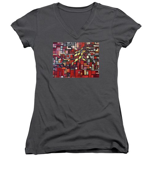 Women's V-Neck T-Shirt (Junior Cut) featuring the painting Red Tango by Joanne Smoley