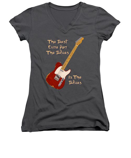 Red Tele Cure For Blues T Shirt Women's V-Neck