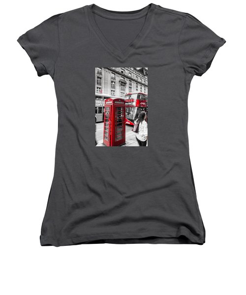 Red Telephone Box With Red Bus In London Women's V-Neck (Athletic Fit)
