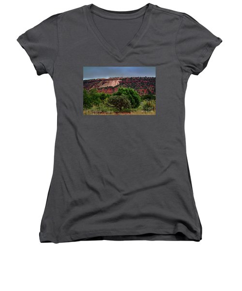 Women's V-Neck T-Shirt (Junior Cut) featuring the photograph Red Terrain - New Mexico by Diana Mary Sharpton