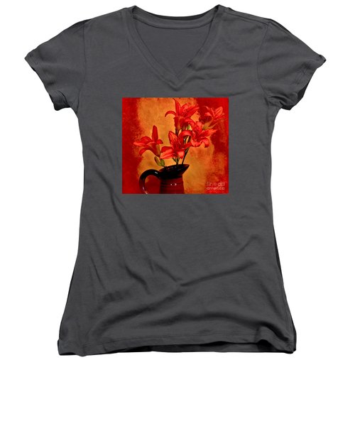 Red Tigerlilies In A Pitcher Women's V-Neck T-Shirt (Junior Cut) by Marsha Heiken