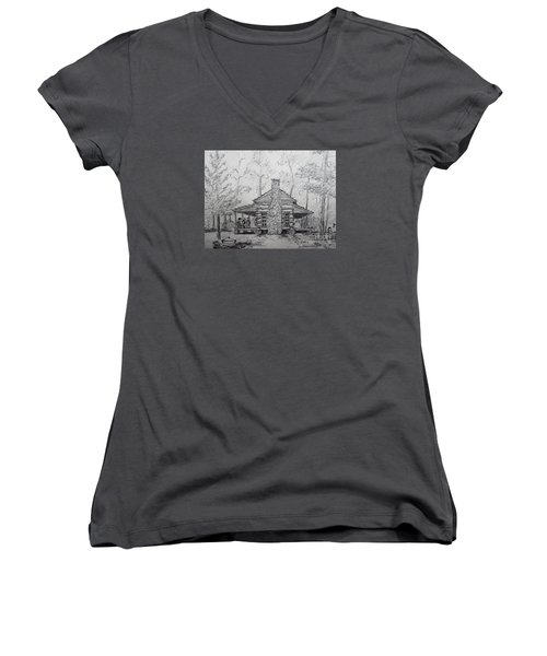 Women's V-Neck T-Shirt (Junior Cut) featuring the painting Red Top Mountain's Log Cabin by Gretchen Allen
