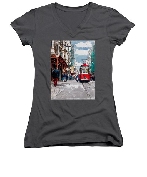 Women's V-Neck T-Shirt (Junior Cut) featuring the digital art Red Tram by Kai Saarto