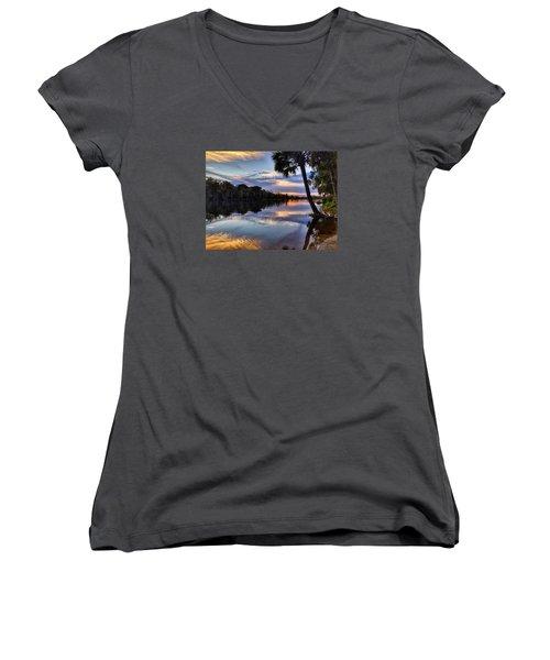 Red Tranquility  Women's V-Neck T-Shirt (Junior Cut)