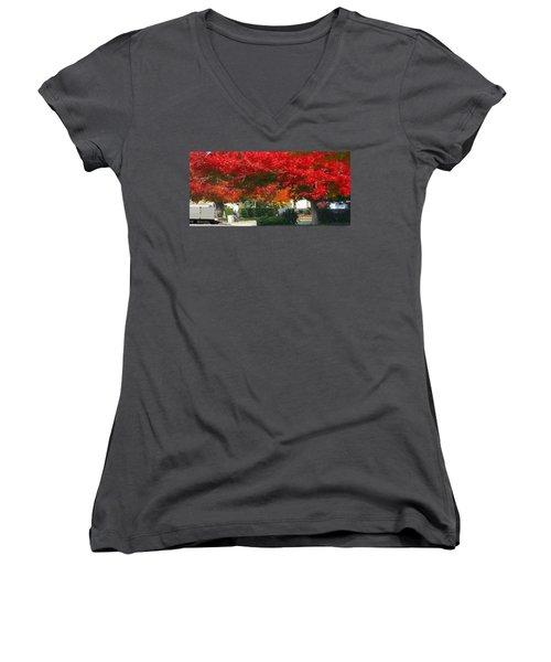 Red Trees Women's V-Neck T-Shirt (Junior Cut)