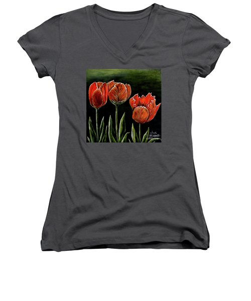 Women's V-Neck T-Shirt (Junior Cut) featuring the photograph Red Tulips by Judy Kirouac