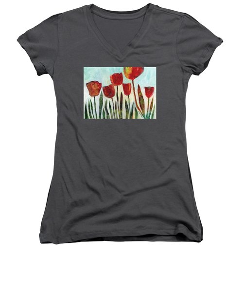 Red Tulips Women's V-Neck (Athletic Fit)