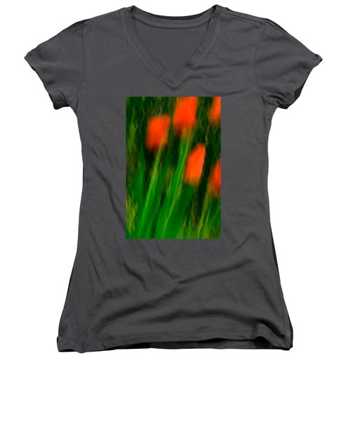 Red Tulips Women's V-Neck