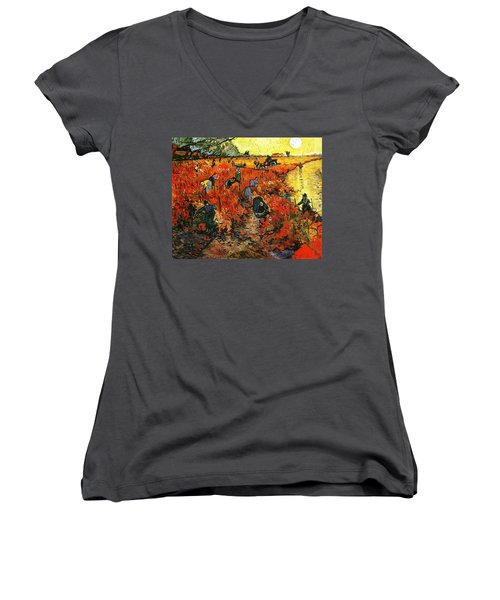 Red Vineyard Women's V-Neck T-Shirt