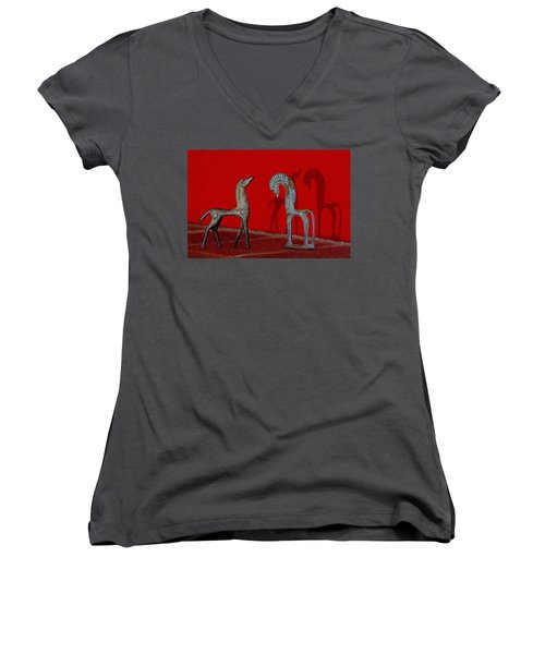 Red Wall Horse Statues Women's V-Neck (Athletic Fit)