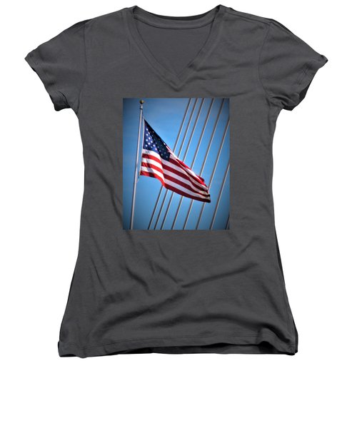 Red, White And Blue Women's V-Neck T-Shirt