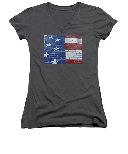 Red White And Blue On Brick Women's V-Neck T-Shirt