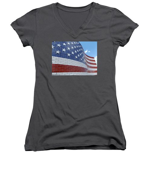 Red White And Brick Women's V-Neck T-Shirt (Junior Cut) by Erick Schmidt