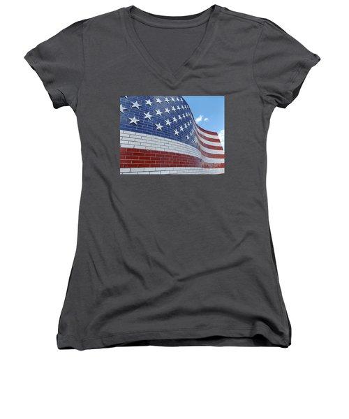 Red White And Brick Women's V-Neck T-Shirt