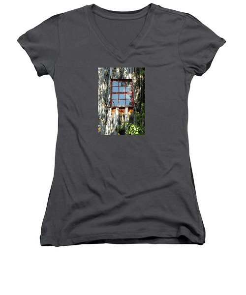 Women's V-Neck T-Shirt (Junior Cut) featuring the photograph The Red Window by Sandi OReilly