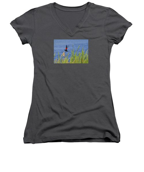 Red Wing Bow Women's V-Neck T-Shirt (Junior Cut) by Shelly Gunderson