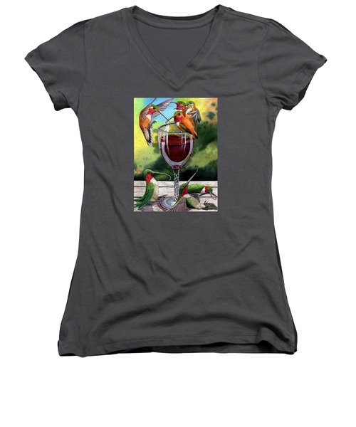 Red Winos Women's V-Neck T-Shirt