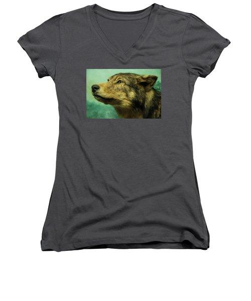 Women's V-Neck T-Shirt (Junior Cut) featuring the digital art Red Wolf Digital Art by Chris Flees