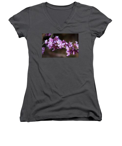 Women's V-Neck T-Shirt (Junior Cut) featuring the photograph Redbuds In March by Jeff Severson