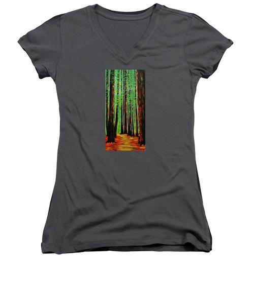 Redwoods Majestic 2 Women's V-Neck T-Shirt (Junior Cut) by Mike Caitham