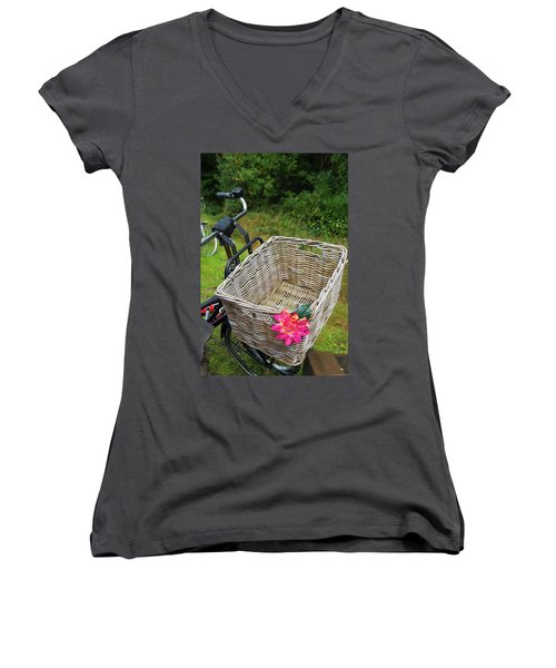 Reed Bicycle Basket Women's V-Neck T-Shirt (Junior Cut) by Hans Engbers