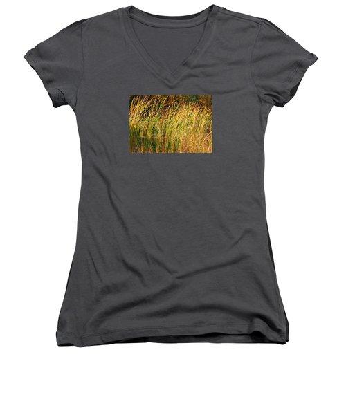 Women's V-Neck T-Shirt (Junior Cut) featuring the photograph Reeds by Susan Crossman Buscho