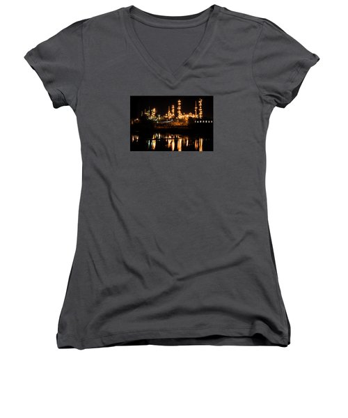 Refinery At Night 1 Women's V-Neck