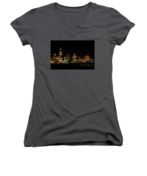 Refinery At Night 2 Women's V-Neck