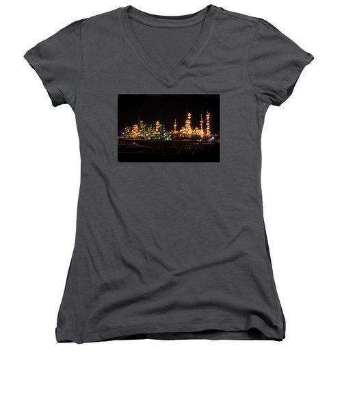 Refinery At Night 3 Women's V-Neck