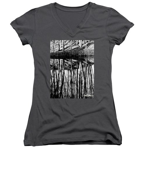 Reflected Landscape Patterns Women's V-Neck T-Shirt (Junior Cut) by Carol F Austin