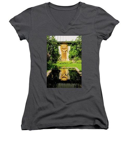 Reflecting Art Women's V-Neck T-Shirt (Junior Cut) by Greg Fortier