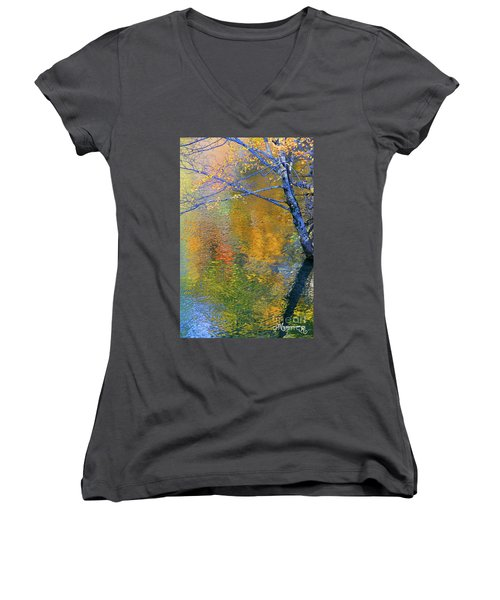 Reflecting Autumn Women's V-Neck T-Shirt
