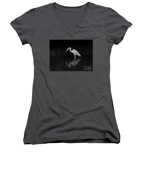 Reflecting Heron Women's V-Neck T-Shirt (Junior Cut) by Judy Wolinsky