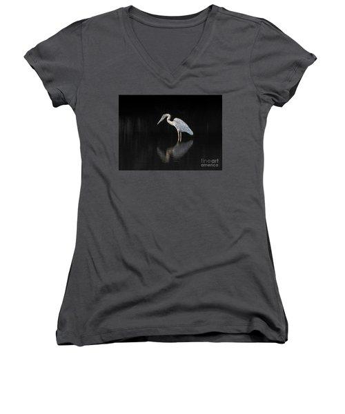 Reflecting Heron Women's V-Neck T-Shirt