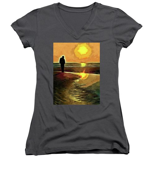Women's V-Neck T-Shirt (Junior Cut) featuring the mixed media Reflecting On The Day by Trish Tritz