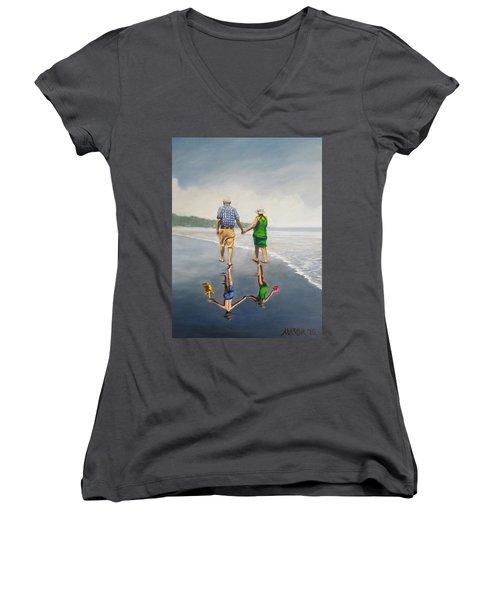 Reflecting Happiness Women's V-Neck T-Shirt (Junior Cut) by Jason Marsh