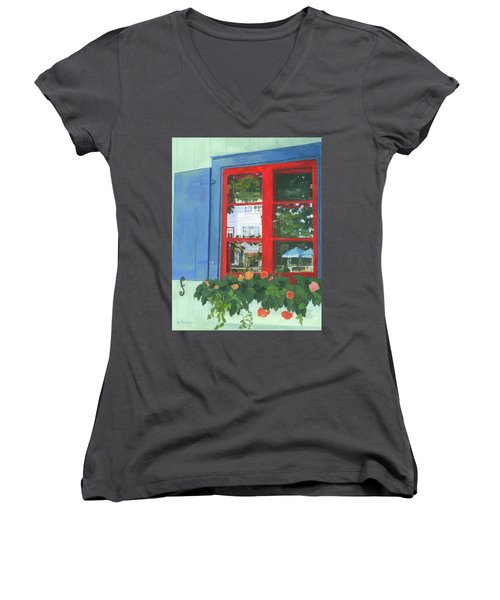 Reflecting Panes Women's V-Neck T-Shirt (Junior Cut) by Lynne Reichhart