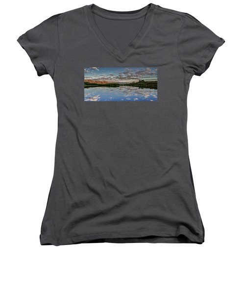 Women's V-Neck T-Shirt (Junior Cut) featuring the photograph Reflection In A Mountain Pond by Don Schwartz
