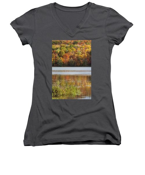 Reflection Of Autumn Colors In A Lake Women's V-Neck T-Shirt