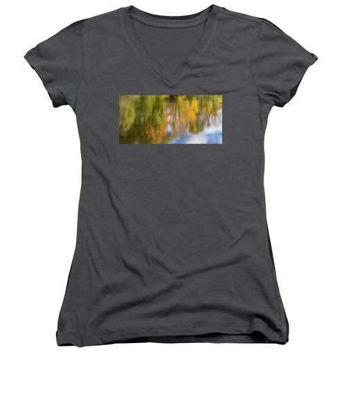 Reflection Of Fall #1, Abstract Women's V-Neck