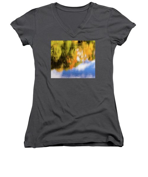 Reflection Of Fall #2, Abstract Women's V-Neck