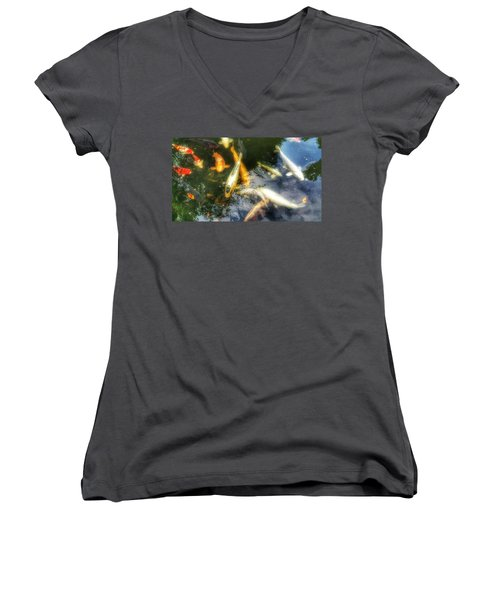 Reflections And Fish 7 Women's V-Neck T-Shirt (Junior Cut) by Isabella F Abbie Shores FRSA