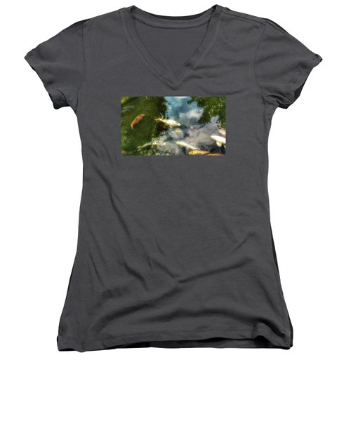 Reflections And Fish  Women's V-Neck T-Shirt (Junior Cut) by Isabella F Abbie Shores FRSA
