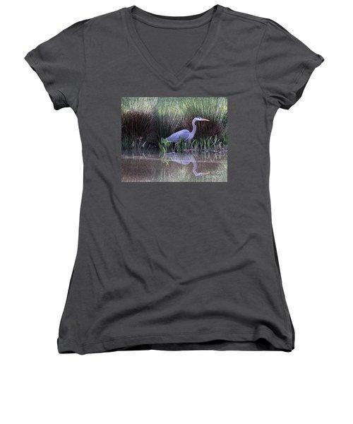 Reflections At Nassau Grove Women's V-Neck T-Shirt (Junior Cut) by Allan Levin
