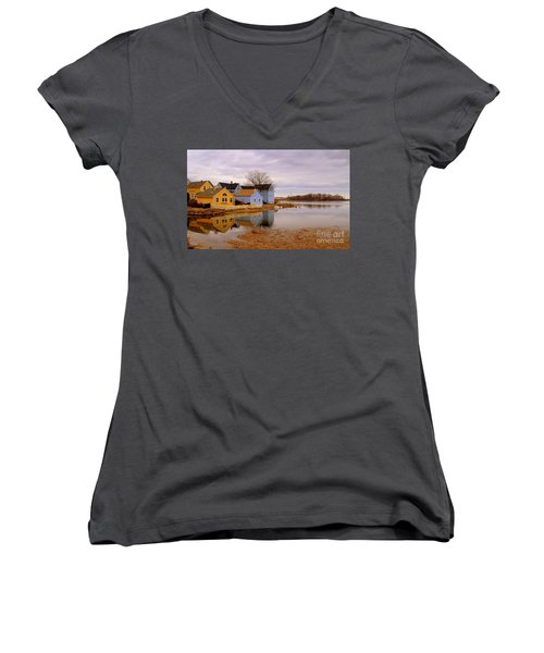 Reflections In The Harbor Women's V-Neck T-Shirt