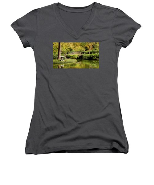 Women's V-Neck T-Shirt (Junior Cut) featuring the photograph Reflections In The Japanese Garden by Iris Greenwell