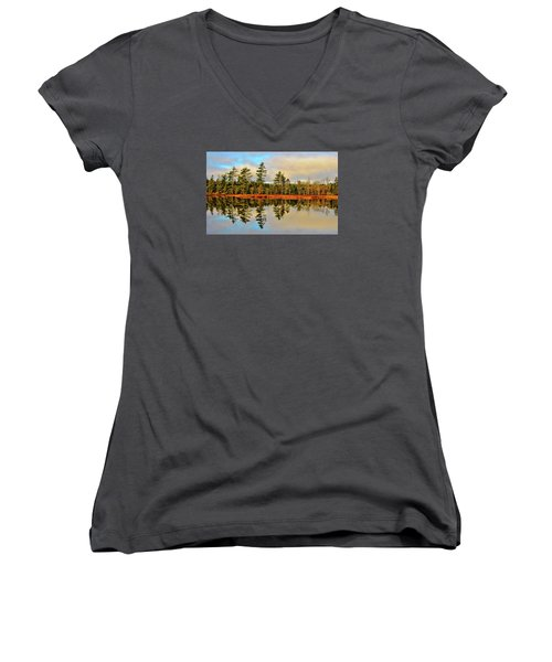 Women's V-Neck T-Shirt (Junior Cut) featuring the photograph Reflections by Kathleen Sartoris