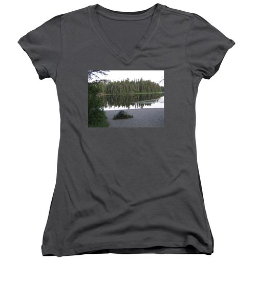 Reflections Lake 1 Women's V-Neck T-Shirt (Junior Cut) by Barbara Yearty