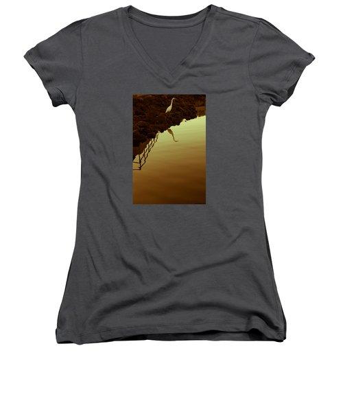 Elegant Bird Women's V-Neck T-Shirt (Junior Cut) by Lora Lee Chapman
